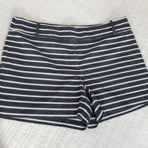 Shorts, navy and white stripes, Ann Taylor